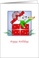 From Meat Casing Company Christmas Card-Present-Mouse-Hot Dog card
