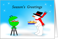 Christmas Snowman Grilling Hot Dogs, Season's Greetings card