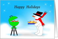 Christmas Card with Snowman Grilling Hot Dogs, Happy Holidays card