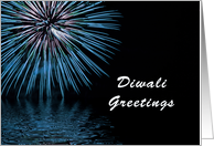 Diwali New Year Greeting Card with Blue Fireworks card