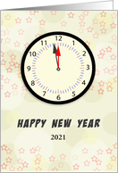 Happy New Year Greeting Card Clock Midnight 12:00 Customizable card