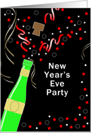 New Year's Eve Party Invitation Greeting Card, Champagne-Streamers card