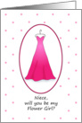 Niece Will You Be My Flower Girl Invitation, Pink Dress Bridal Party Invitation card