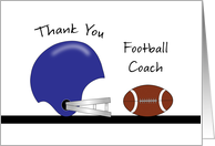 For Football Coach Thank You Greeting Card-Football and Helmet card