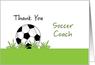 For Soccer Coach Thank You Greeting Card-Soccer Ball & Grass-Futbol card