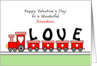 For Grandson Valentine's Day Greeting Card with Train Full of Love card