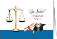 Law School Graduation Invitation Greeting Card-Scales of Justice-Books card