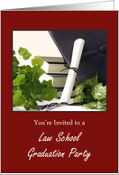 Law School Graduation Invitation with Cap, Scroll, Books and Ivy card