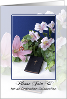 Ordination Invitation - Bible, Flowers, Lilies card