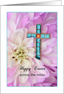 Across the Miles Happy Easter Greeting Card-Religious-Cross Flower card