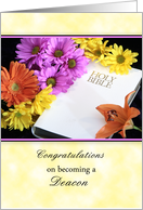 For Deacon Ordination Greeting Card with Flowers and White Bible card