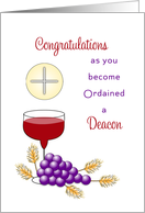 For Deacon Ordination Greeting Card-Wine-Grapes-Wheat-Wafer card