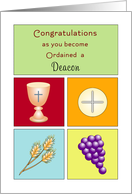 For Deacon Ordination Greeting Card-Host-Chalice-Grapes-Wheat card