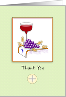 Religious Thank You Greeting Card-Wine-Grapes-Wheat-Cross-Wafer card