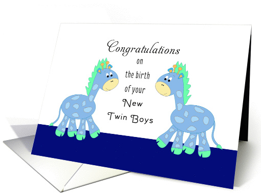 New Twin Boys / New Twin Sons Greeting Card with 2 Blue Giraffes card