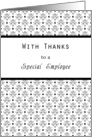 Employee Thank You Card-Retro Black and White card