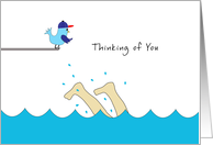Thinking of You Away at Summer Camp Card-Feet Splashing-Swimming-Bird card