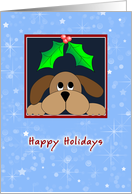Dog Walker Greeting Card-Brown Dog with Holly and Berries card