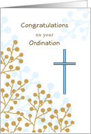 Ordination Congratulations Greeting Card with Cross-Berry Stem Design card