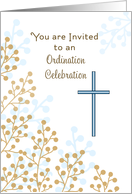 Ordination Party Invitation Greeting Card with Cross card