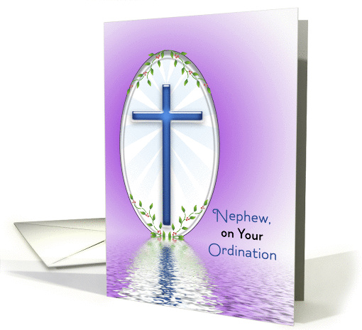 For Nephew Ordination Greeting Card-Blue Cross Reflection card
