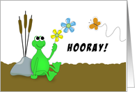 Last Round of Chemotherapy Greeting Card With Frog & Hooray card