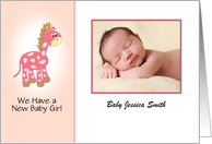 New Baby Girl Announcement Photo Card with Giraffe card