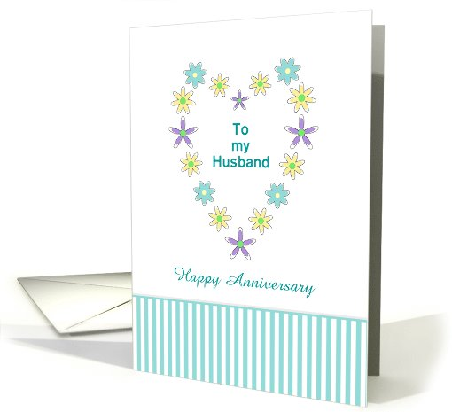 For Husband Happy Anniversary Greeting Card - Flower Shaped Heart card