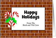 Christmas Tiles and Candy Canes with Customizable Text card