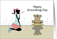 Happy Groundhog Day Greeting Card with Shadow-Retro Girl card