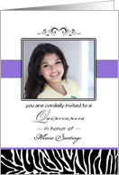 Quinceanera Photo Card Invitation-15th Birthday Party-Zebra-Custom card