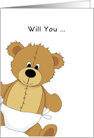 Be My Godfather Christening / Baptism Greeting Card-Bear in Diaper card