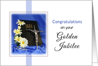 Golden Jubilee Religious Life Greeting Card-Crucifix- Bible-Blue card