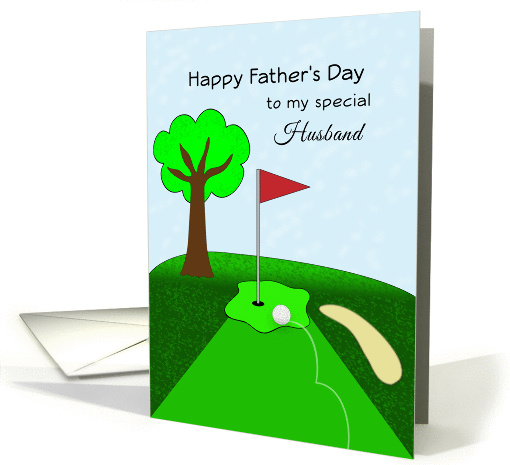 Golf Themed Happy Father's Day Greeting Card for Husband card (925223)