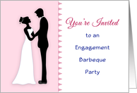 Engagement Barbeque Party Invitation-Bride and Groom Siilhouette card