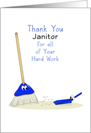 Thank You Janitor Greeting Card with Broom-Dust Pan and Eyes card