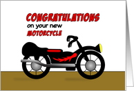 Congratulations on Your New Motorcycle-Chopper-Black-Red-Tires-Light card
