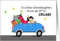 Granddaughter Off to College Greeting Card-Car-Retro Girl-Luggage- card
