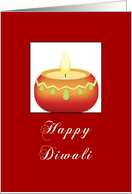 Happy Diwali New Year Greeting with Orange Candle card