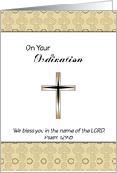 On Your Ordination Greeting Card-Cross-Psalm 129:8 card