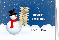 Christmas Card From Pizza Food Service-Snowman-Hot Lunch-Custom card