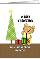 For Godson Merry Christmas Greeting Card-Bear-Christmas Tree-Presents card
