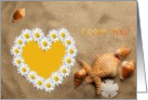 Daisy Heart On The Beach card