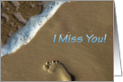 Miss you Footstep on the Beach card