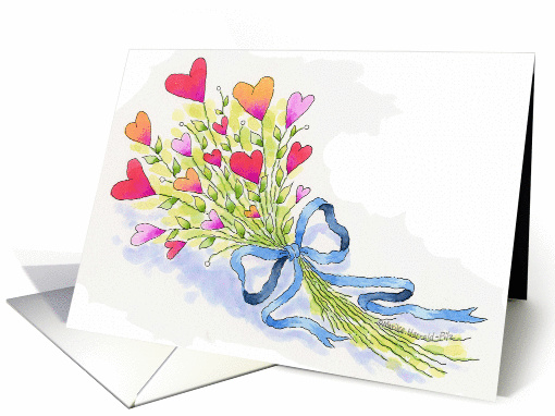 A Bouquet of Love Valentine's Day Heart Flowers card (349637)