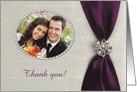 Thank you Host Couple, Plum Purple Satin Ribbon with Jewel, Photo Card
