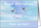 Happy Anniversary Mummy & Daddy, Doves on Silver Heart card