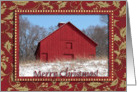 Beautful Red Barn in the Snow, Merry Christmas, We have moved card