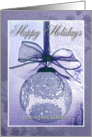 Purple Lace Ornament with Bow, Happy Holiday from our new address card