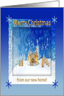 Beautiful Church, Singing Angels, Winter, Gold, Blue, Merry Christmas card